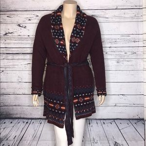 Wrangler NWT XL Purple Sweater Coat Cardigan Belt